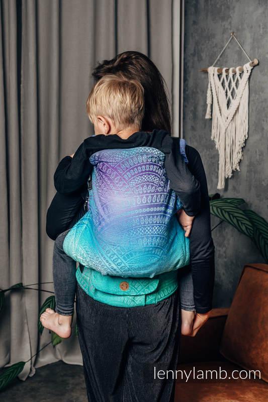 LennyPreschool Carrier, Preschool Size, jacquard weave 100% cotton - PEACOCK'S TAIL - FANTASY #babywearing