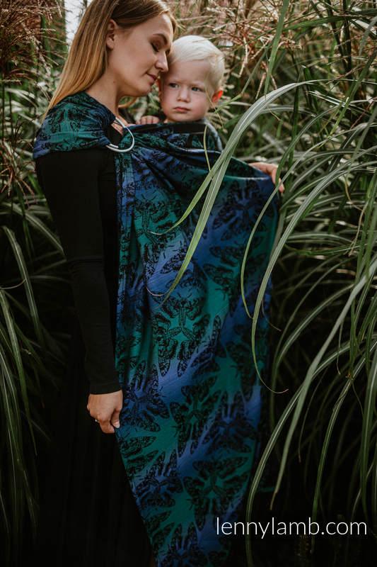 Sling, jacquard (64% Coton, 29% Laine Mérinos, 5% Soie, 2% Cachemire) - avec épaule sans plis - QUEEN OF THE NIGHT - ECLIPSE - standard 1.8m #babywearing
