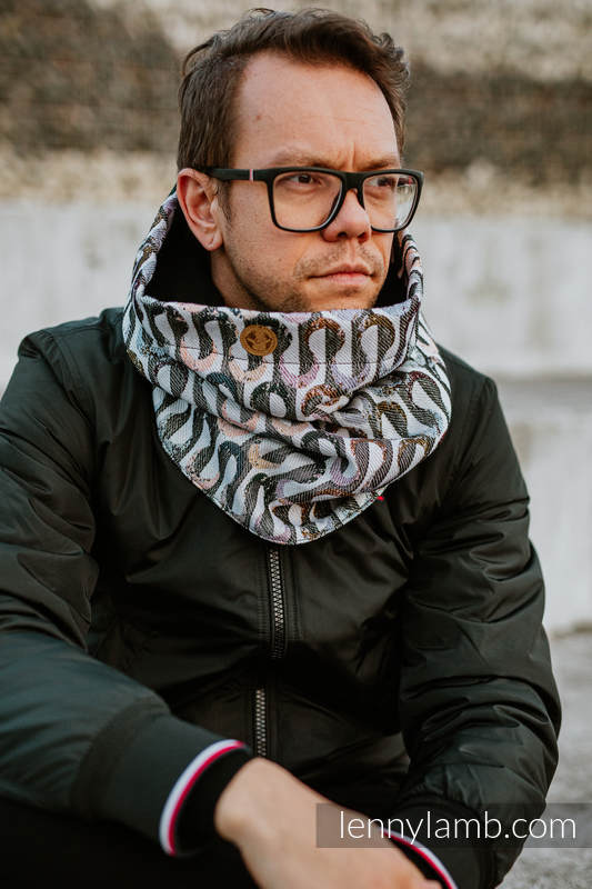 Snood Scarf (Outer fabric - 33% combed cotton, 55% merino wool, 5% mulberry silk, 7% cashmere; Lining - 100% cotton) - EQUILIBRIUM & BLACK #babywearing