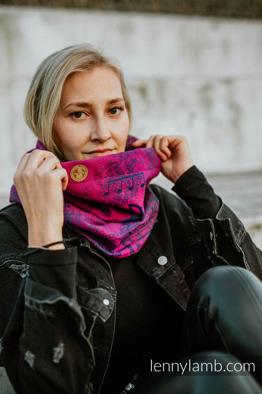 Snood Scarf (Outer fabric - 43% cotton, 57% meino wool; Lining - 100% cotton) - SYMPHONY DESIRE & BLACK #babywearing