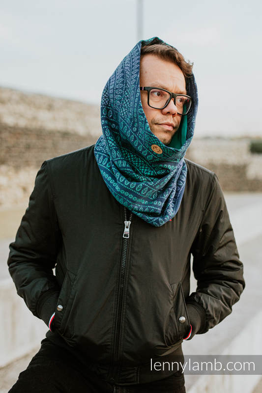 Snood Scarf (100% cotton) - PEACOCK'S TAIL - PROVANCE & TURQUOISE #babywearing