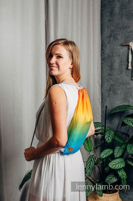 Sackpack made of wrap fabric (100% cotton) - RAINBOW BABY - standard size 32cmx43cm #babywearing