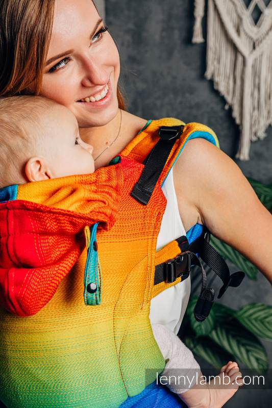 LennyGo Ergonomic Carrier, Baby Size, jacquard weave 100% cotton - RAINBOW BABY #babywearing