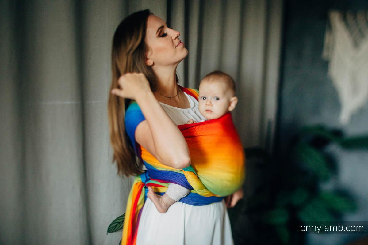 Tragetuch, Jacquardwebung (100% Baumwolle) - RAINBOW BABY - Größe L (grad B) #babywearing