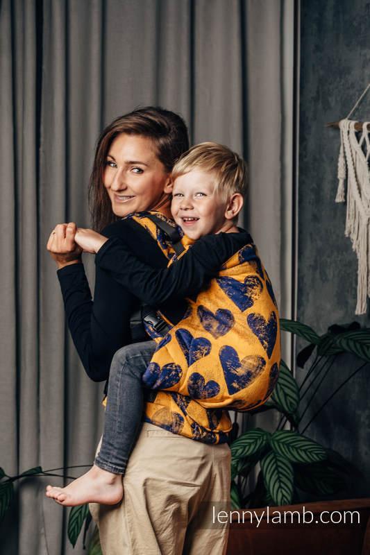 LennyPreschool Carrier, Preschool Size, jacquard weave 100% cotton - LOVKA MUSTARD & NAVY BLUE  #babywearing