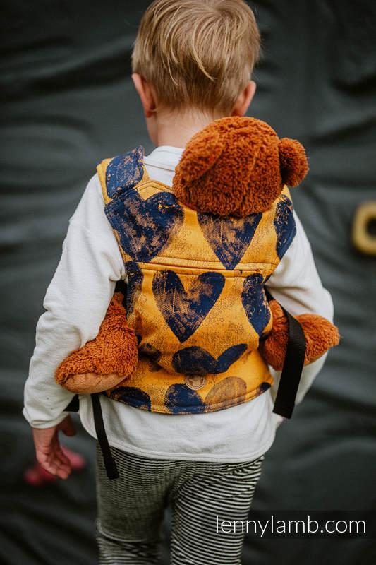 Nosidełko dla lalek z tkaniny chustowej -  LOVKA MUSZTARDA Z GRANATEM  #babywearing