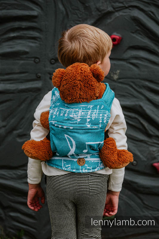 Doll Carrier made of woven fabric, 51% cotton, 30% merino wool, 10% silk, 5% cashmere, 4% metallised yarn - SYMPHONY - ICY #babywearing