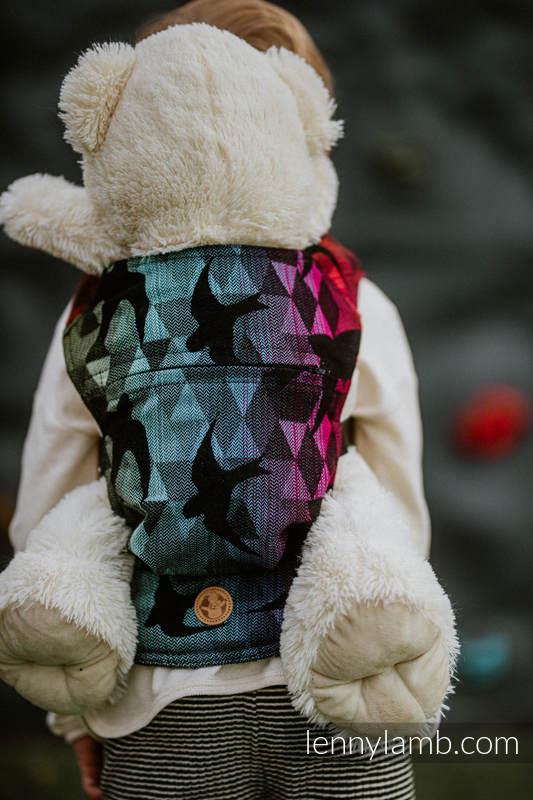 Nosidełko dla lalek z tkaniny chustowej - JASKÓŁKI TĘCZOWE DARK #babywearing