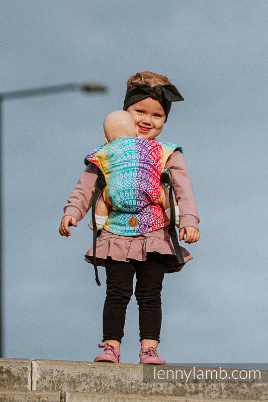 Doll Carrier made of woven fabric, 100% cotton - PEACOCK'S TAIL - FUNFAIR  #babywearing