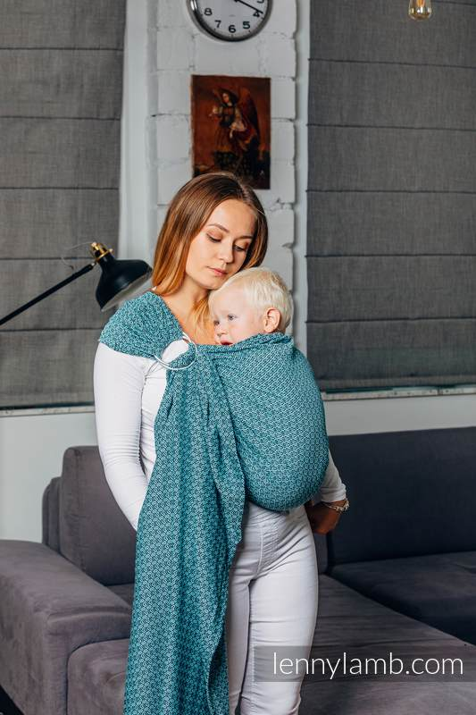 Basic Line Ring Sling - LITTLELOVE AMAZONITE - 100% Cotton - Jacquard Weave -  with gathered shoulder - standard 1.8m #babywearing