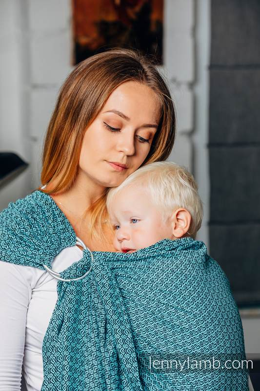 Moja druga chusta kółkowa do noszenia dzieci - LITTLELOVE - AMAZONIT, tkana splotem żakardowym - bawełniana - ramię bez zakładek - standard 1.8m #babywearing