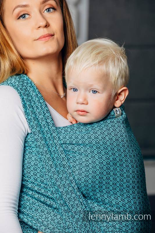 Basic Line Baby Sling - LITTLE LOVE - AMAZONITE, Jacquard Weave, 100% cotton, size XS #babywearing