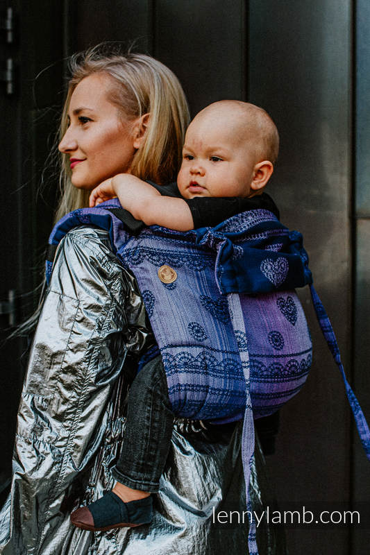 Lenny Buckle Onbuhimo baby carrier, standard size, jacquard weave (65% cotton 25% linen 10% tussah silk) - SPACE LACE #babywearing