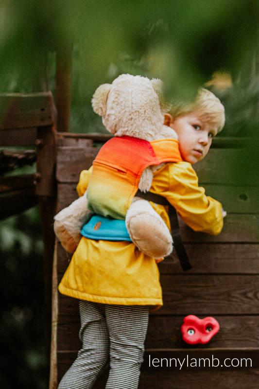 Nosidełko dla lalek z tkaniny chustowej - TĘCZOWE DZIECKO #babywearing