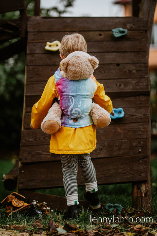Doll Carrier made of woven fabric, 100% cotton - SYMPHONY RAINBOW LIGHT  #babywearing