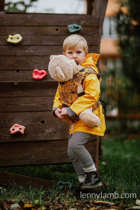Doll Carrier made of woven fabric, 100% cotton - UNDER THE LEAVES - GOLDEN AUTUMN #babywearing