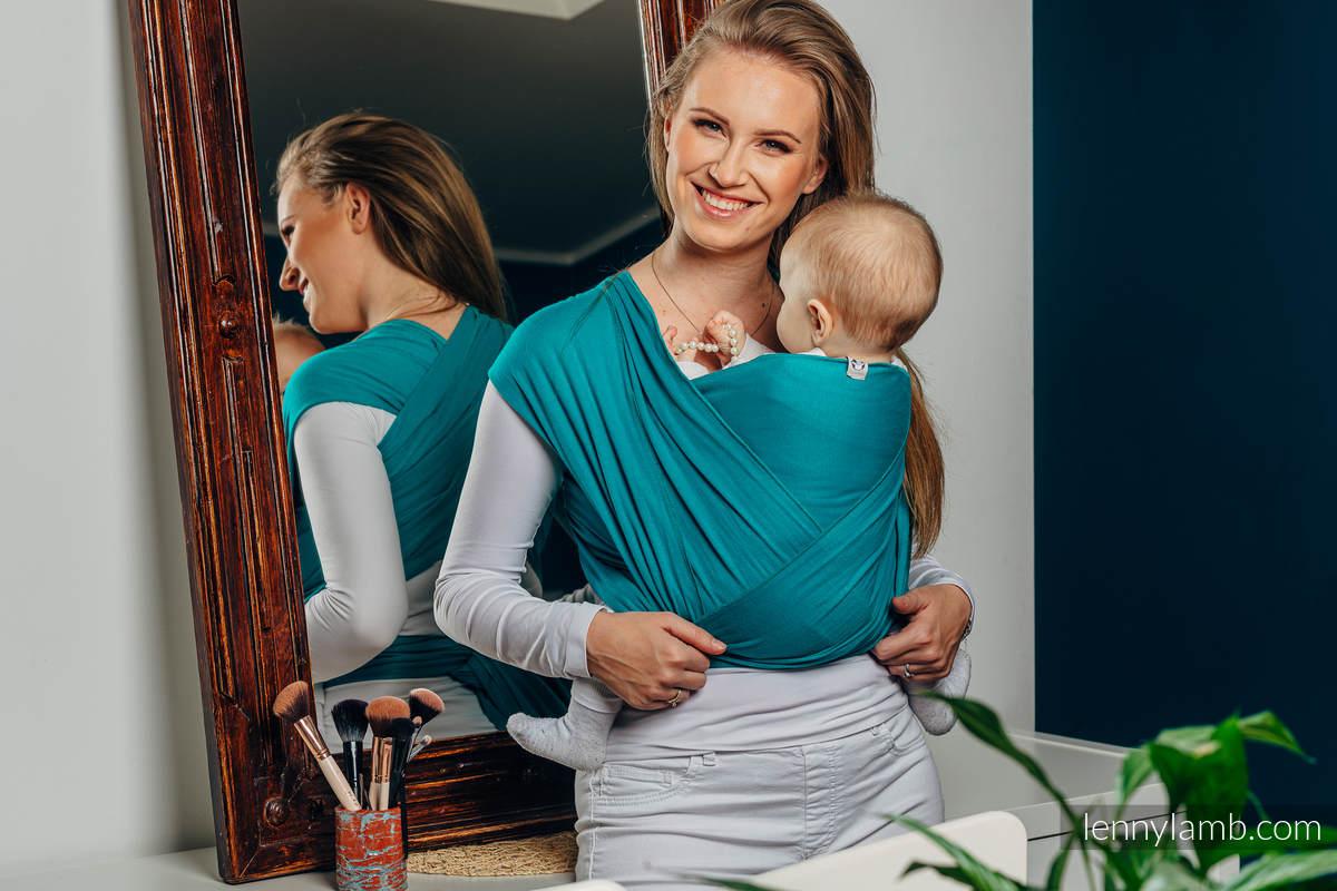 Chusta do noszenia dzieci, elastyczna - Turkus - rozmiar standardowy 5.0 m (drugi gatunek) #babywearing