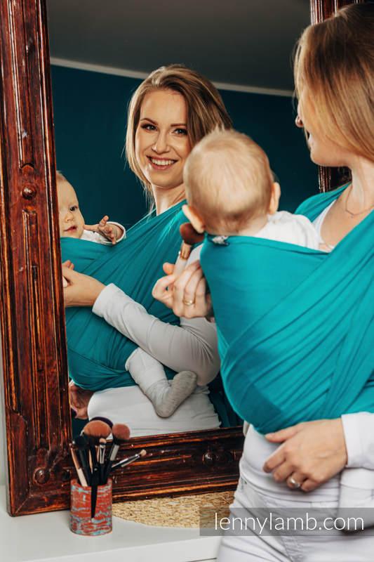 Chusta do noszenia dzieci, elastyczna - Turkus - rozmiar standardowy 5.0 m #babywearing