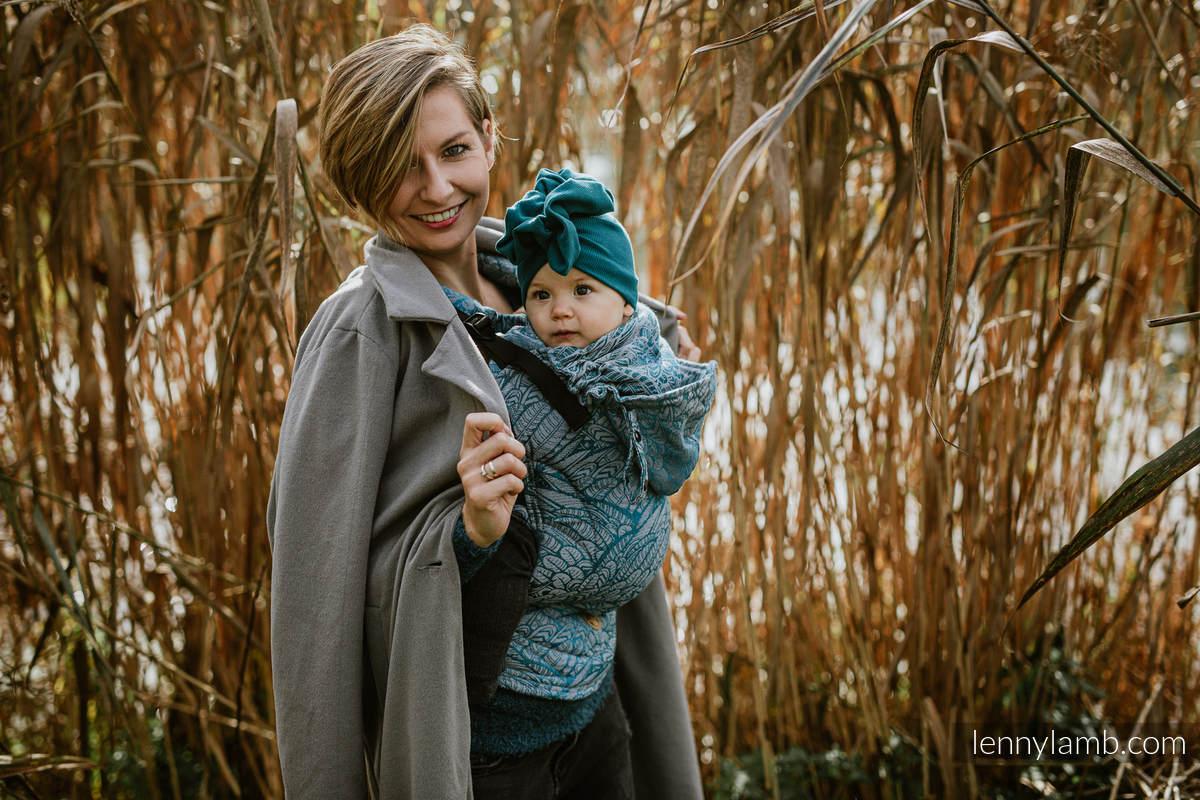 LennyGo Ergonomic Carrier, Toddler Size, jacquard weave (59% cotton, 28% Merino wool, 9% silk, 4% cashmere) - WILD SOUL - LIBERTY #babywearing