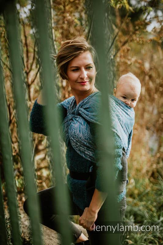LennyHybrid Half Buckle Tragehilfe, Größe Standard, Jacquardwebung, (59% Baumwolle, 28% Merinowolle, 9% Seide, 4% Kaschmir) - WILD SOUL - LIBERTY #babywearing