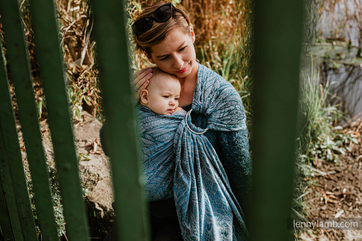 Ringsling, Jacquard Weave (59% combed cotton, 28% Merino wool, 9% silk, 4% cashmere), with gathered shoulder - WILD SOUL - LIBERTY - standard 1.8m #babywearing