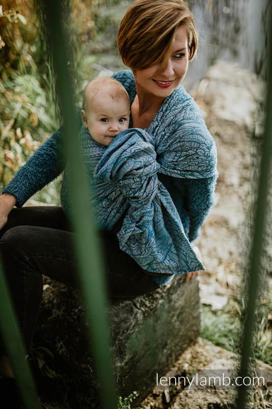 Ringsling, Jacquard Weave (59% cotton, 28% Merino wool, 9% silk, 4% cashmere), with gathered shoulder - WILD SOUL - LIBERTY - standard 1.8m #babywearing