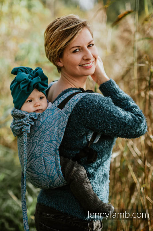 Lenny Buckle Onbuhimo baby carrier, Standard size, jacquard weave (59% combed cotton, 28% Merino wool, 9% silk, 4% cashmere) - WILD SOUL - LIBERTY #babywearing