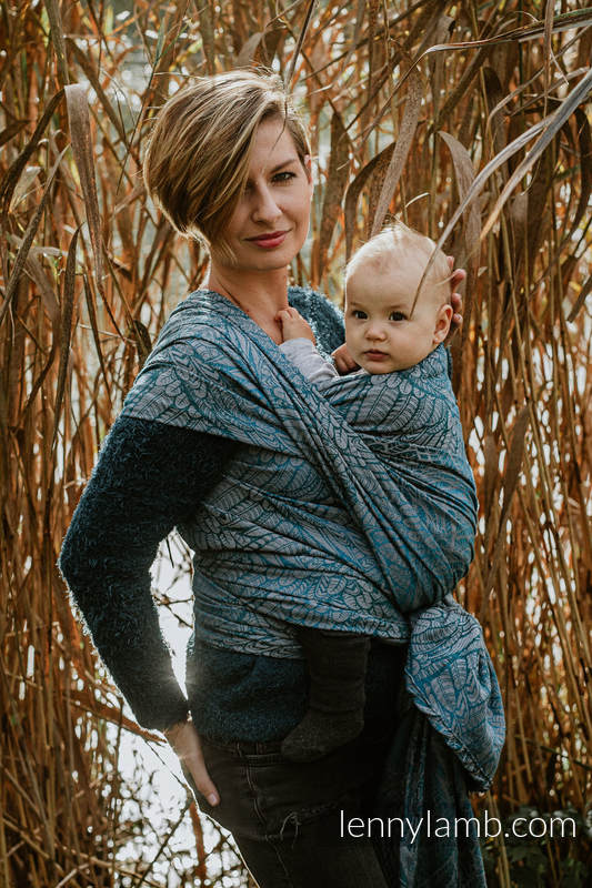 Baby Wrap, Jacquard Weave (59% combed cotton, 28% Merino wool, 9% silk, 4% cashmere) - WILD SOUL - LIBERTY - size M #babywearing