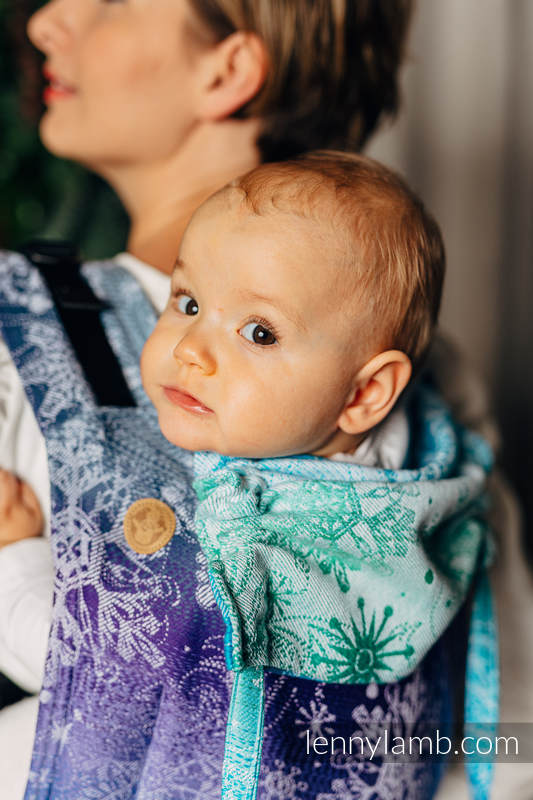 Lenny Buckle Onbuhimo baby carrier, standard size, jacquard weave (100% cotton) - SNOW QUEEN - CRYSTAL #babywearing
