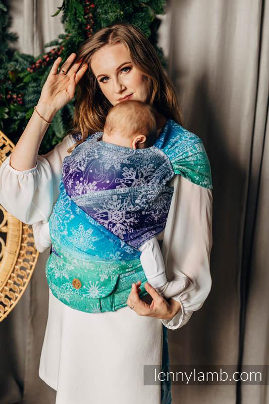 Nosidełko  LennyHybrid Half Buckle, splot jodełkowy, 100% bawełna , rozmiar standard - KRÓLOWA ŚNIEGU - KRYSZTAŁ #babywearing