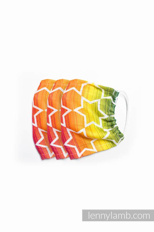 Set von 3 Gesicht Maske - eine Schicht - Bambus Viskose - Rainbow Stars - Größe S #babywearing
