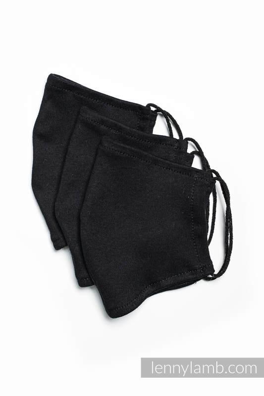 Set of 3 Face Masks - one layer - cotton - Black - size M #babywearing