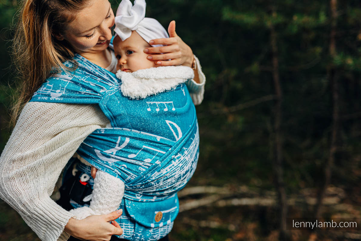 LennyHybrid Half Buckle Carrier, Standard Size, jacquard weave (51% cotton, 30% merino wool, 10% silk, 5% cashmere, 4% metallised yarn)  - SYMPHONY  - ICY  #babywearing