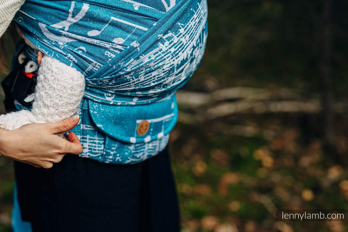Nosidełko LennyHybrid Half Buckle, splot żakardowy, (51% bawełna, 30% wełna merino, 10% jedwab, 5% kaszmir, 4% przędza metalizowana) , rozmiar standard - SYMFONIA - LODOWA #babywearing