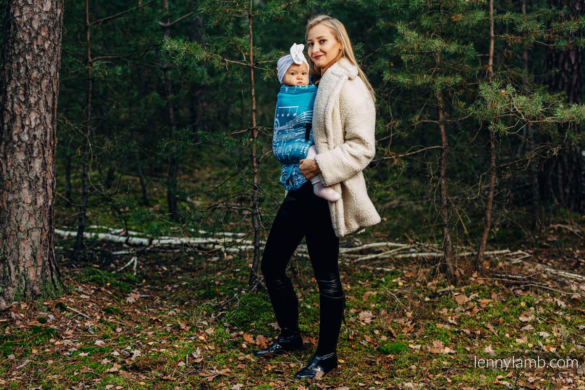 Nosidełko LennyUpGrade  z tkaniny żakardowej (51% bawełna, 30% wełna merino, 10% jedwab, 5% kaszmir, 4% przędza metalizowana) - SYMFONIA - LODOWA #babywearing
