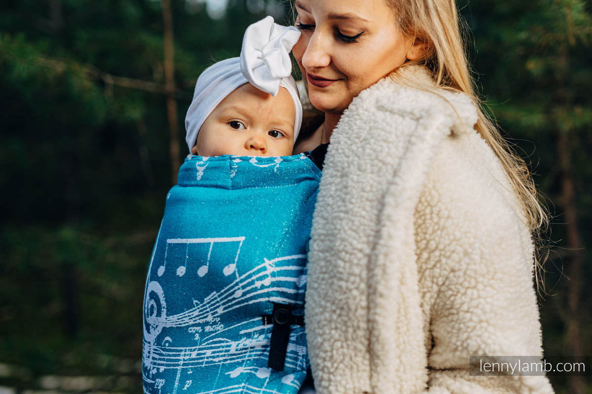 LennyUpGrade Carrier, Standard Size, jacquard weave (51% cotton, 30% merino wool, 10% silk, 5% cashmere, 4% metallised yarn) - SYMPHONY - ICY #babywearing