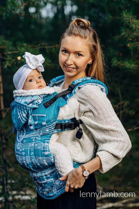 LennyGo Ergonomische Tragehilfe, Größe Baby, Jacquardwebung, (51% Baumwolle, 30% Merinowolle, 10% Seide, 5% Kaschmir, 4% Metallisiertes Garn) - SYMPHONY - ICY #babywearing