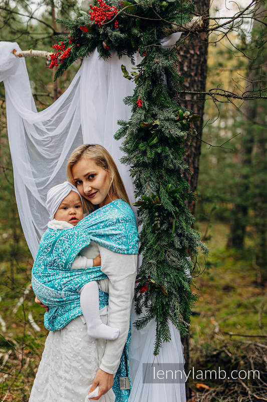 LennyHybrid Half Buckle Carrier, Standard Size, jacquard weave (96% cotton, 4% metallised yarn)  - WOODLAND - FROST #babywearing