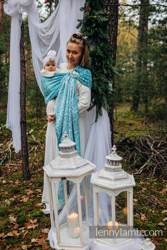 Żakardowa chusta kółkowa do noszenia dzieci, 96% bawełna, 4% przędza metalizowana, ramię bez zakładek - LEŚNA KRAINA - SZRON - standard 1.8m #babywearing