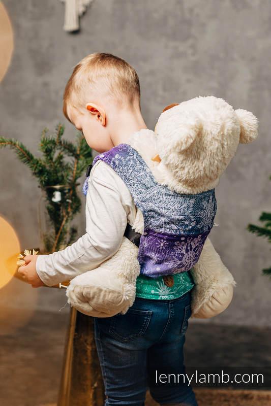 Nosidełko dla lalek z tkaniny chustowej, 100% bawełna - KRÓLOWA ŚNIEGU - KRYSZTAŁ #babywearing