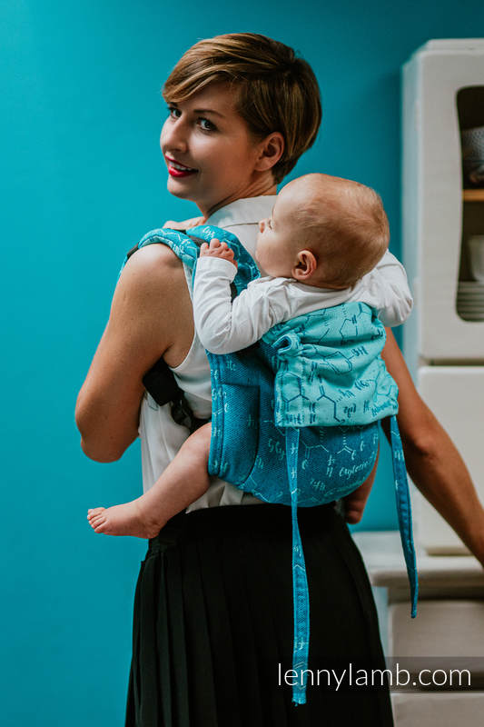 Lenny Buckle Onbuhimo baby carrier, Toddler size, jacquard weave (72% cotton, 28% silk) - LOVE HORMONES - LOVE OCEAN #babywearing