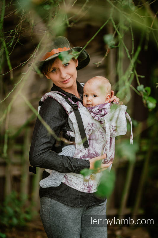 LennyGo Ergonomic Carrier, Baby Size, jacquard weave 78% cotton 22% silk - GALLOP - RACE #babywearing