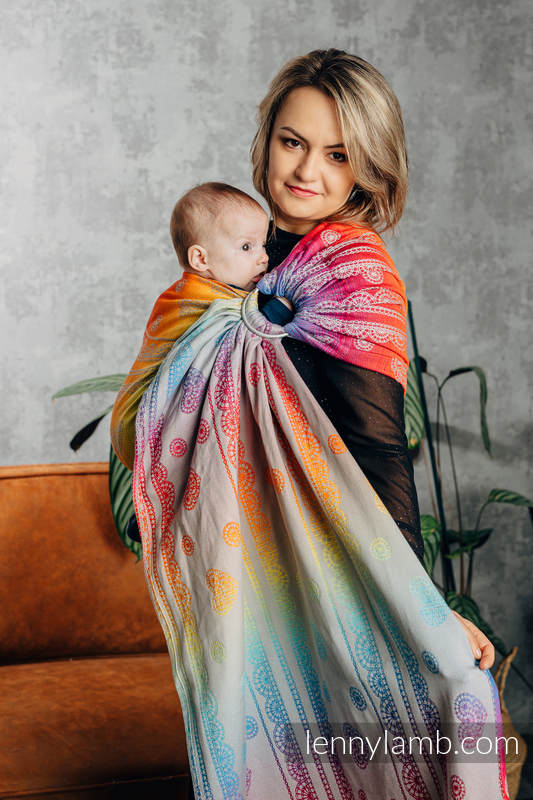 Ringsling, Jacquard Weave (100% cotton), with gathered shoulder - RAINBOW LACE SILVER - standard 1.8m (grade B) #babywearing