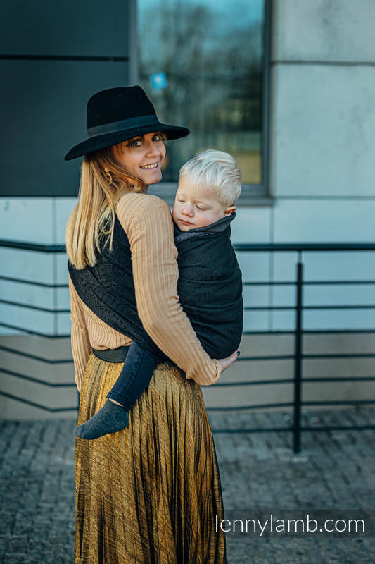 Ringsling, Jacquard Weave (59% cotton, 41% Merino wool), with gathered shoulder - PEACOCK'S TAIL - PITCH BLACK - standard 1.8m #babywearing