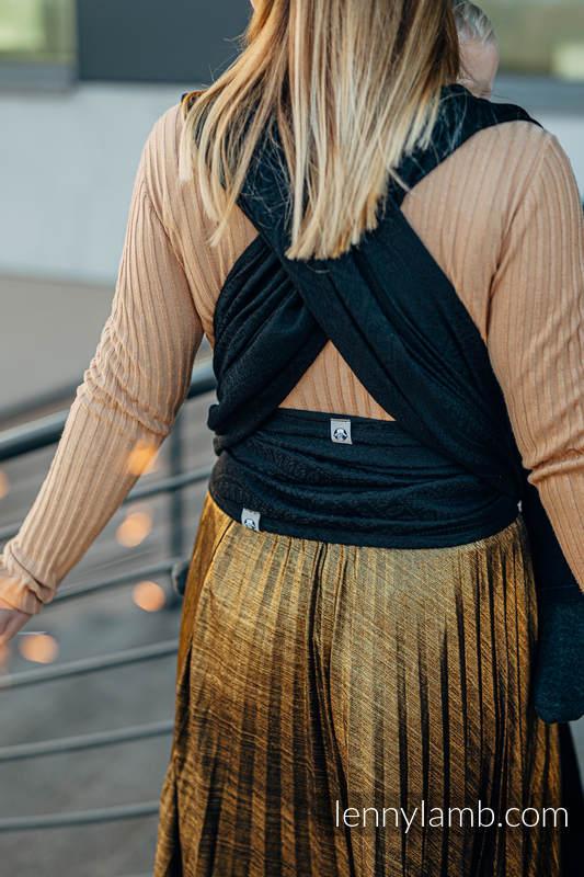 Baby Wrap, Jacquard Weave (59% cotton, 41% Merino wool) - PEACOCK'S TAIL - PITCH BLACK - size M #babywearing
