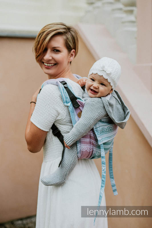 Lenny Buckle Onbuhimo baby carrier, Standard  size, jacquard weave (91% cotton, 9% tencel) - UNICORN LACE (grade B) #babywearing