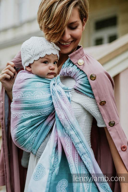Ringsling, Jacquard Weave, with gathered shoulder (91% cotton, 9% tencel) -  UNICORN LACE - long 2.1m #babywearing