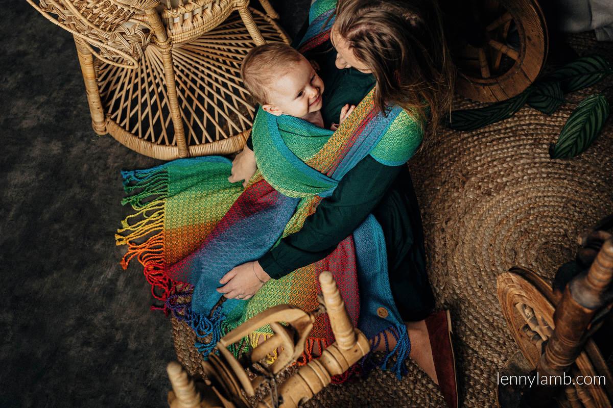 Tragetuch mit Fransen, Jacquardwebung (100% Baumwolle) - LITTLE LOVE JUNGLE - Größe M #babywearing