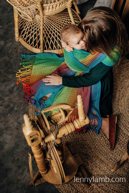 Baby Wrap with Fringes, Jacquard Weave (100% cotton) - LITTLELOVE JUNGLE - size S #babywearing