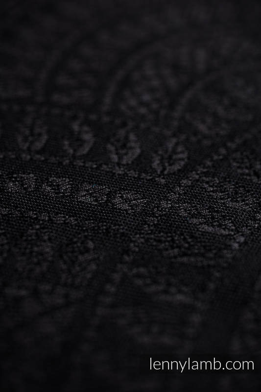 Baby Wrap, Jacquard Weave (59% cotton, 41% Merino wool) - PEACOCK'S TAIL - PITCH BLACK - size XS #babywearing